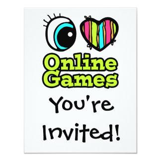 Bright Eye Heart I Love Online Games 4.25x5.5 Paper Invitation Card