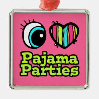 Bright Eye Heart I Love Pajama Parties Christmas Ornament