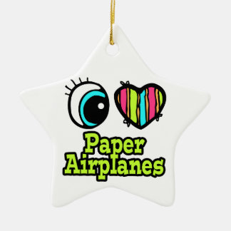 Bright Eye Heart I Love Paper Airplanes Christmas Ornament