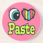 Bright Eye Heart I Love Paste Drink Coaster