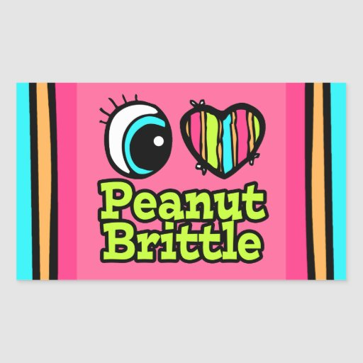 Bright Eye Heart I Love Peanut Brittle Rectangle Sticker