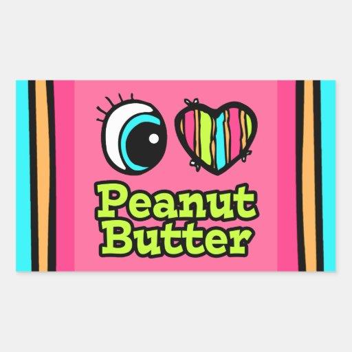 Bright Eye Heart I Love Peanut Butter Rectangle Sticker