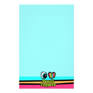 Bright Eye Heart I Love Pencil Toppers Personalized Stationery