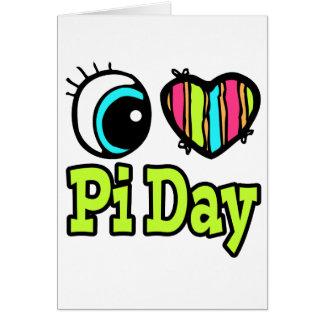 Bright Eye Heart I Love Pi Day Greeting Card