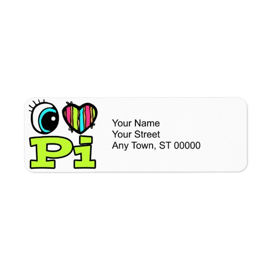 Bright Eye Heart I Love Pi Return Address Label