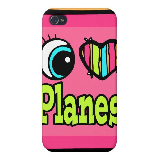 Bright Eye Heart I Love Planes iPhone 4/4S Cover