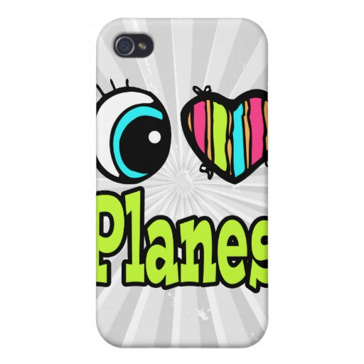 Bright Eye Heart I Love Planes Covers For iPhone 4