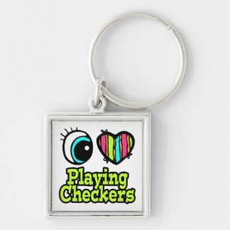 Bright Eye Heart I Love Playing Checkers Keychains
