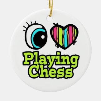 Bright Eye Heart I Love Playing Chess Christmas Ornament