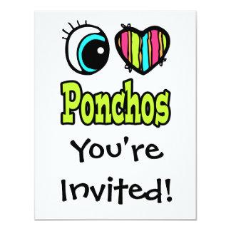 Bright Eye Heart I Love Ponchos 11 Cm X 14 Cm Invitation Card