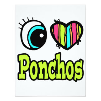 "Bright Eye Heart I Love Ponchos 4.25"" X 5.5"" Invitation Card"