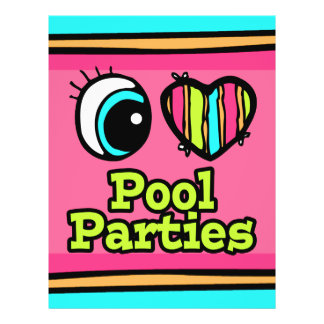 Bright Eye Heart I Love Pool Parties 21.5 Cm X 28 Cm Flyer