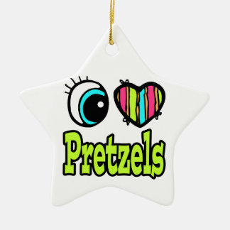 Bright Eye Heart I Love Pretzels Christmas Ornament