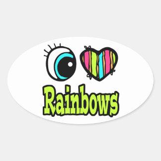 Bright Eye Heart I Love Rainbows Stickers
