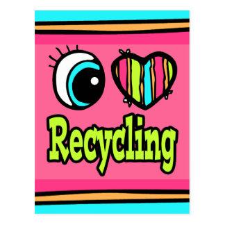 Bright Eye Heart I Love Recycling Postcard