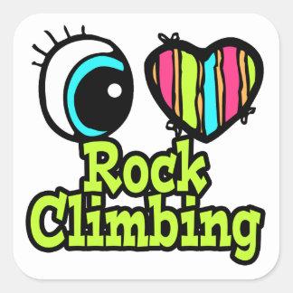 Bright Eye Heart I Love Rock Climbing Square Sticker