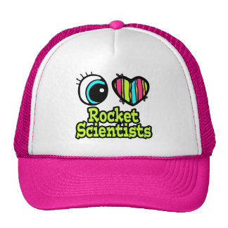 Bright Eye Heart I Love Rocket Scientists Mesh Hat