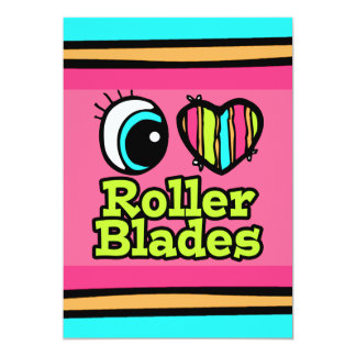 "Bright Eye Heart I Love Roller Blades 5"" X 7"" Invitation Card"