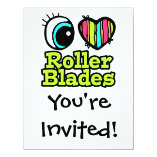 Bright Eye Heart I Love Roller Blades Personalized Invitations