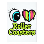 Bright Eye Heart I Love Roller Coasters 17 Cm X 22 Cm Invitation Card