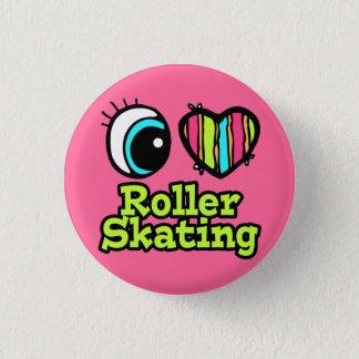 Bright Eye Heart I Love Roller Skating 3 Cm Round Badge