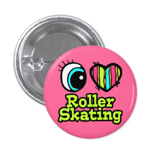 Bright Eye Heart I Love Roller Skating 3 Cm Round Badge