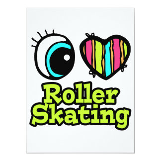 Bright Eye Heart I Love Roller Skating Personalized Invitation