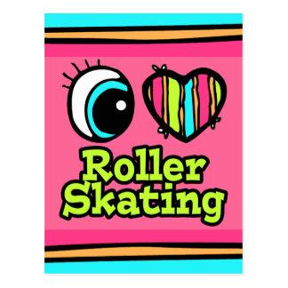 Bright Eye Heart I Love Roller Skating Post Card