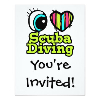 Bright Eye Heart I Love Scuba Diving 11 Cm X 14 Cm Invitation Card