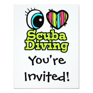 Bright Eye Heart I Love Scuba Diving Card