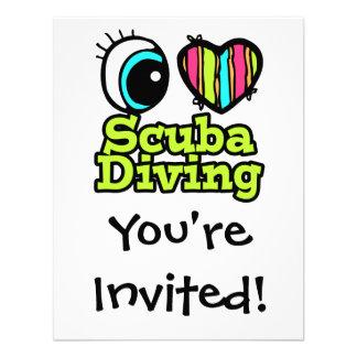 Bright Eye Heart I Love Scuba Diving Invitations
