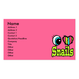 Bright Eye Heart I Love Snails Business Cards