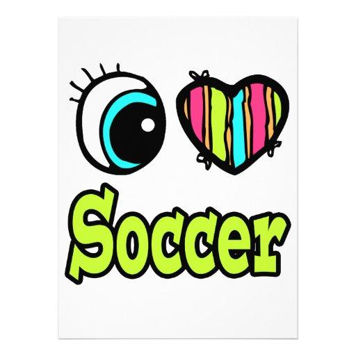 Bright Eye Heart I Love Soccer Custom Invitation