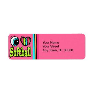 Bright Eye Heart I Love Softball Return Address Label