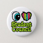 Bright Eye Heart I Love Student Council 6 Cm Round Badge