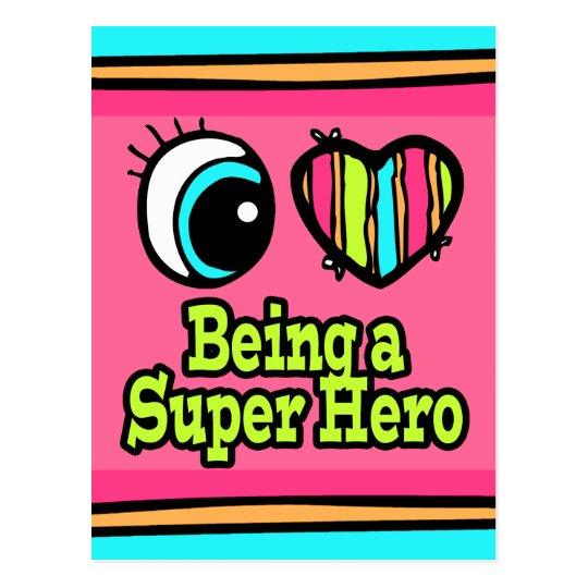 Bright Eye Heart I Love Super Hero Postcard