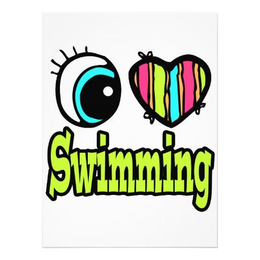 Bright Eye Heart I Love Swimming Personalized Invitation