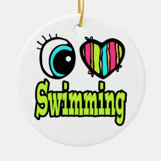 Bright Eye Heart I Love Swimming Round Ceramic Decoration