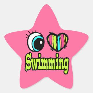 Bright Eye Heart I Love Swimming Star Sticker