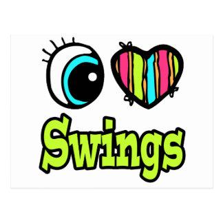 Bright Eye Heart I Love Swings Postcard
