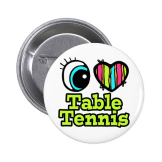 Bright Eye Heart I Love Table Tennis 6 Cm Round Badge