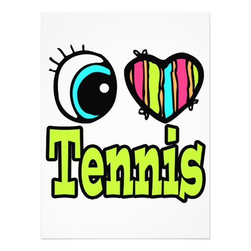 Bright Eye Heart I Love Tennis Personalized Announcement