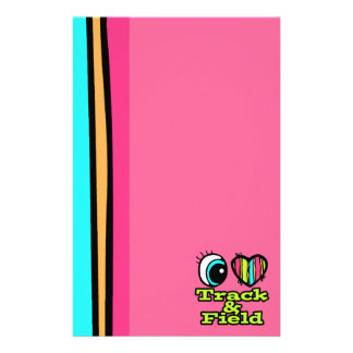 Bright Eye Heart I Love Track and Field Stationery Paper