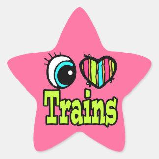 Bright Eye Heart I Love Trains Stickers