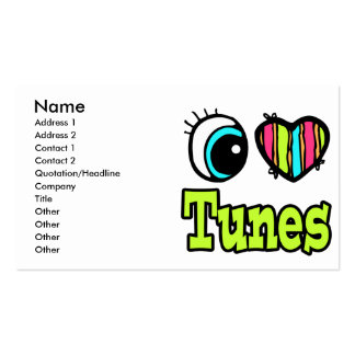 Bright Eye Heart I Love Tunes Pack Of Standard Business Cards