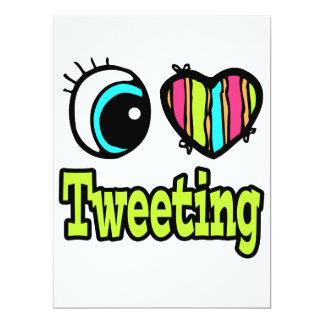 Bright Eye Heart I Love Tweeting 17 Cm X 22 Cm Invitation Card