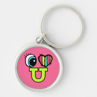 Bright Eye Heart I Love U You Silver-Colored Round Key Ring