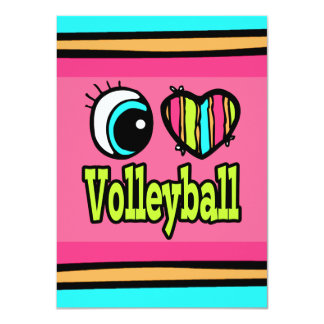 Bright Eye Heart I Love Volleyball Card