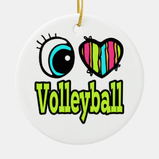 Bright Eye Heart I Love Volleyball Round Ceramic Decoration
