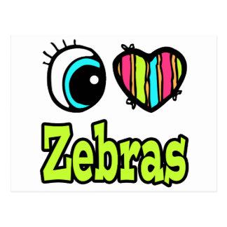 Bright Eye Heart I Love Zebras Postcard